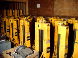 Large inventory of new and refurbished grain bin jacks